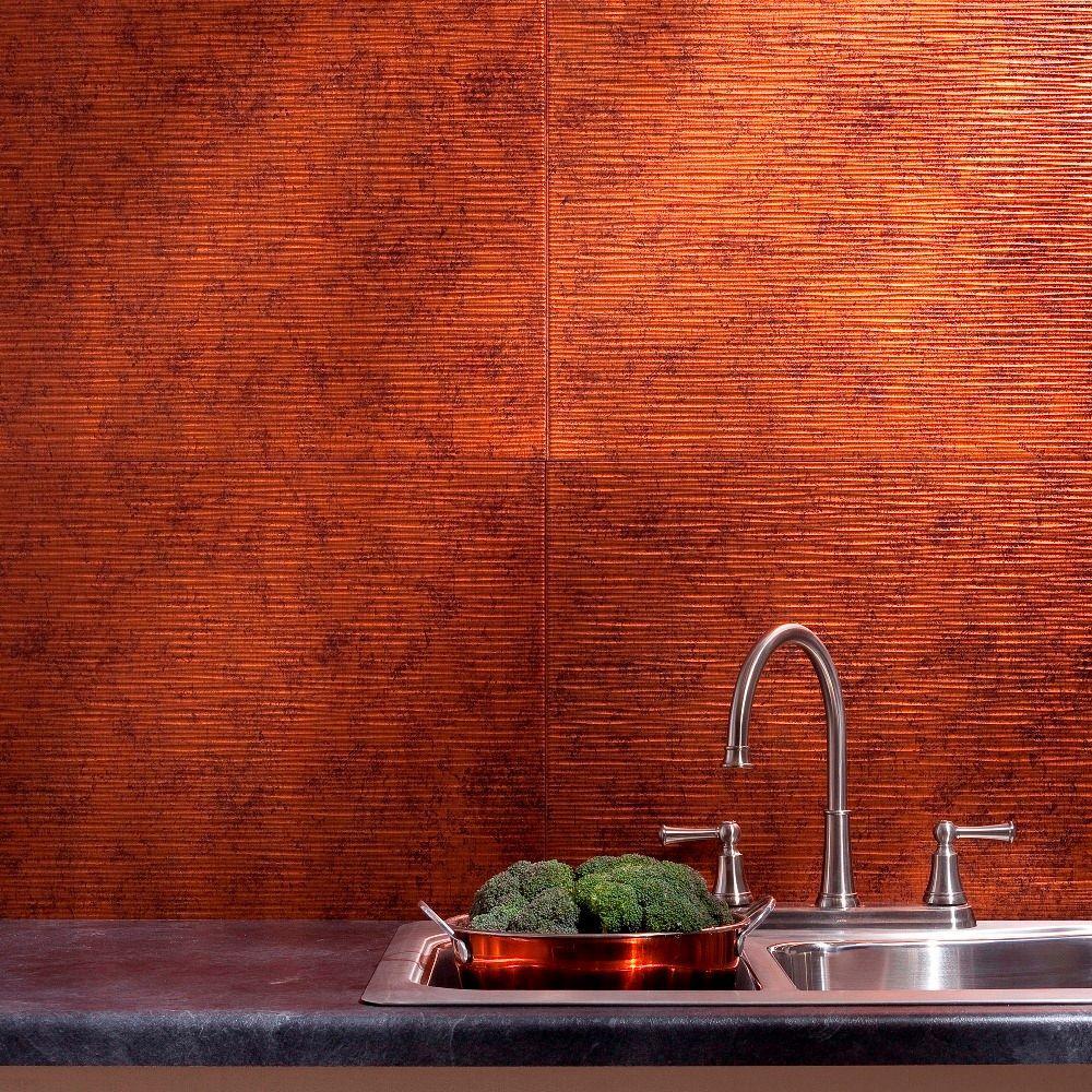 Fasade 24 in. x 18 in. Ripple PVC Decorative Backsplash Panel in Moonstone Copper
