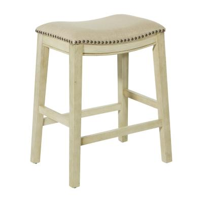 Saddle Stool 24 in. Beige Fabric and Antique White Base and Antique Bronze Nailheads (Set of 2)