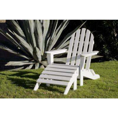 Classics White 2-Piece Folding Plastic Adirondack Chair
