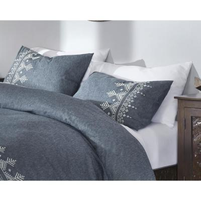 Roanne 3-Piece Steel Blue Embroidered Duvet Cover Set