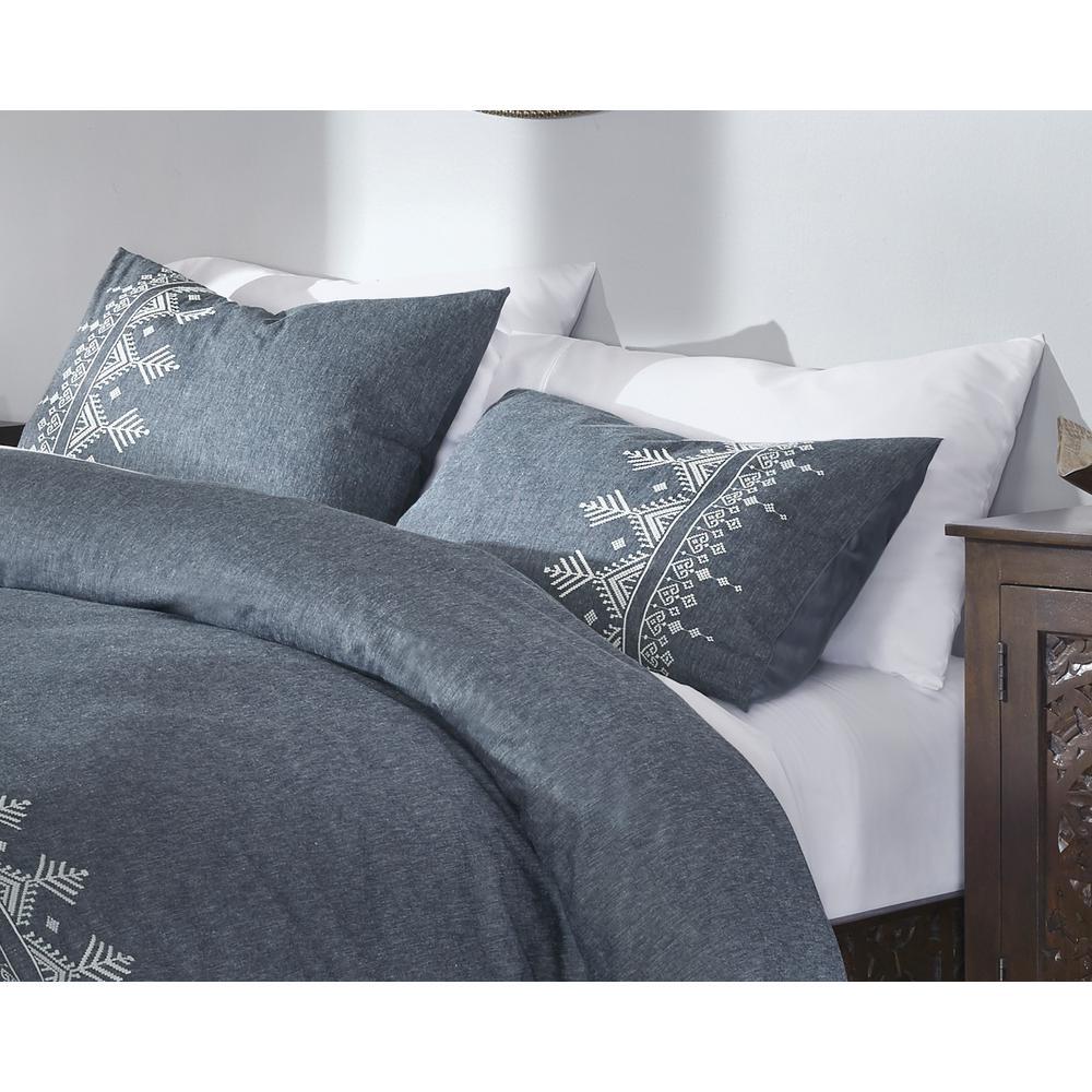 Roanne 3-Piece Steel Blue Embroidered Duvet Cover Set