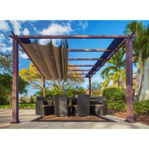 Paragon 11 ft. x 11 ft. Aluminum Pergola with the Look of Chilean Wood Grain Finish and Cocoa Color Convertible Canopy by