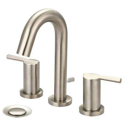 i2v 8 in. Widespread 2-Handle Bathroom Faucet with Brass Pop Up in Brushed Nickel