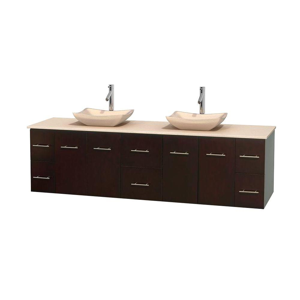 Wyndham Collection Centra 80 in. Double Vanity in Espresso with Marble Vanity Top in Ivory and Sinks