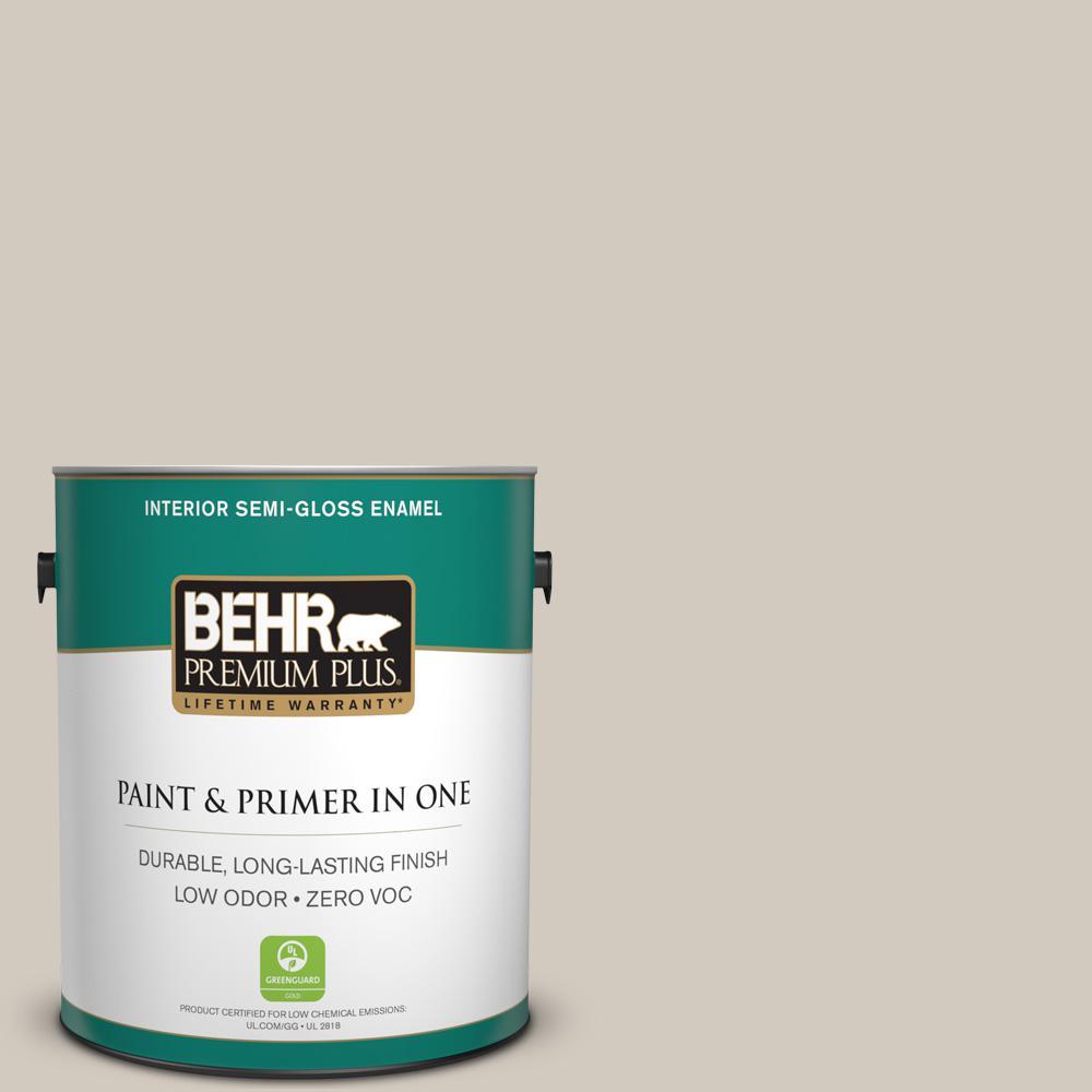 BEHR Premium Plus 1-gal. #PPF-21 Porch Swing Beige Zero VOC Semi-Gloss Enamel Interior Paint