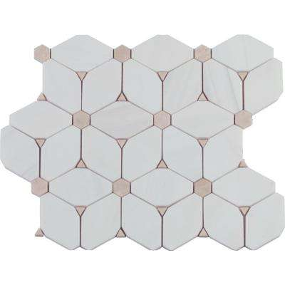 Cecily 10.83 in. x 12.6 in. x 10mm Polished Marble Mesh-Mounted Mosaic Tile (9.5 sq. ft./case)