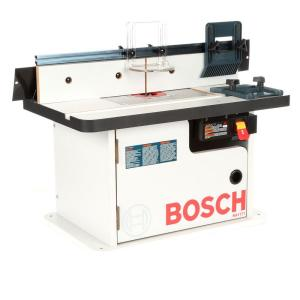 Bosch 15 amp corded 27 in x 18 in aluminum top benchtop router benchtop laminated router table with cabinet and 2 dust collection ports 9 piece greentooth Images