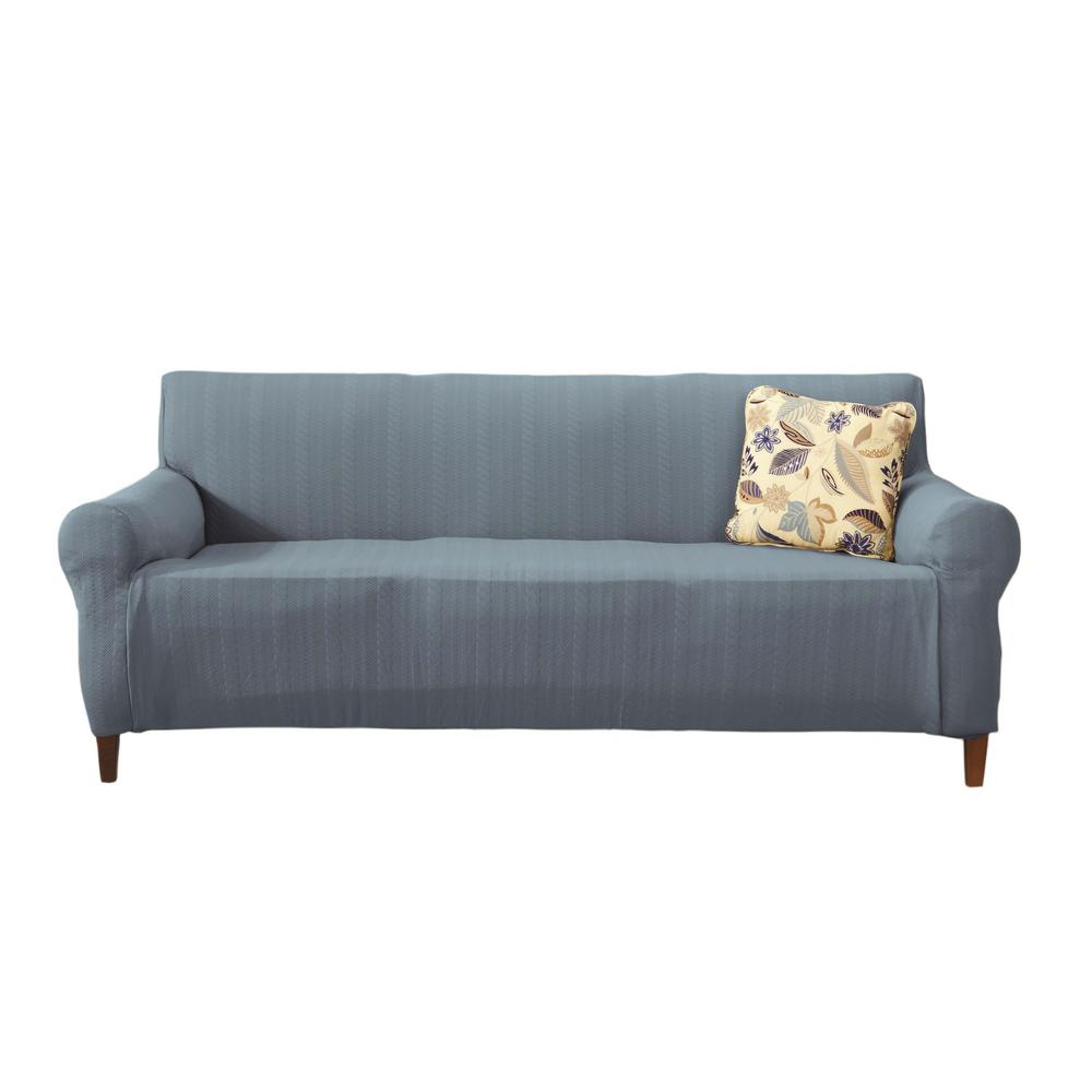 Great Bay Home Darla Collection Stone Blue Luxurious Cable Knit Stretch Fit  Form Fitting Sofa Slipcover 35505   The Home Depot