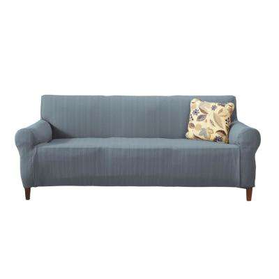 Darla Collection Stone Blue Luxurious Cable Knit Stretch Fit Form Fitting Sofa Slipcover