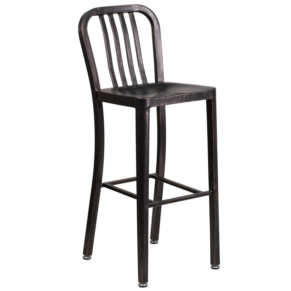Wonderful Flash Furniture 30.25 In. Black And Antique Gold Bar Stool