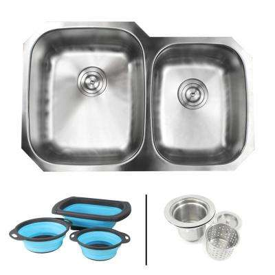 Undermount 16-Gauge Stainless Steel 32 in. 60/40 Double Bowl Kitchen Sink in Satin Pearl Finish with Silicone Colanders