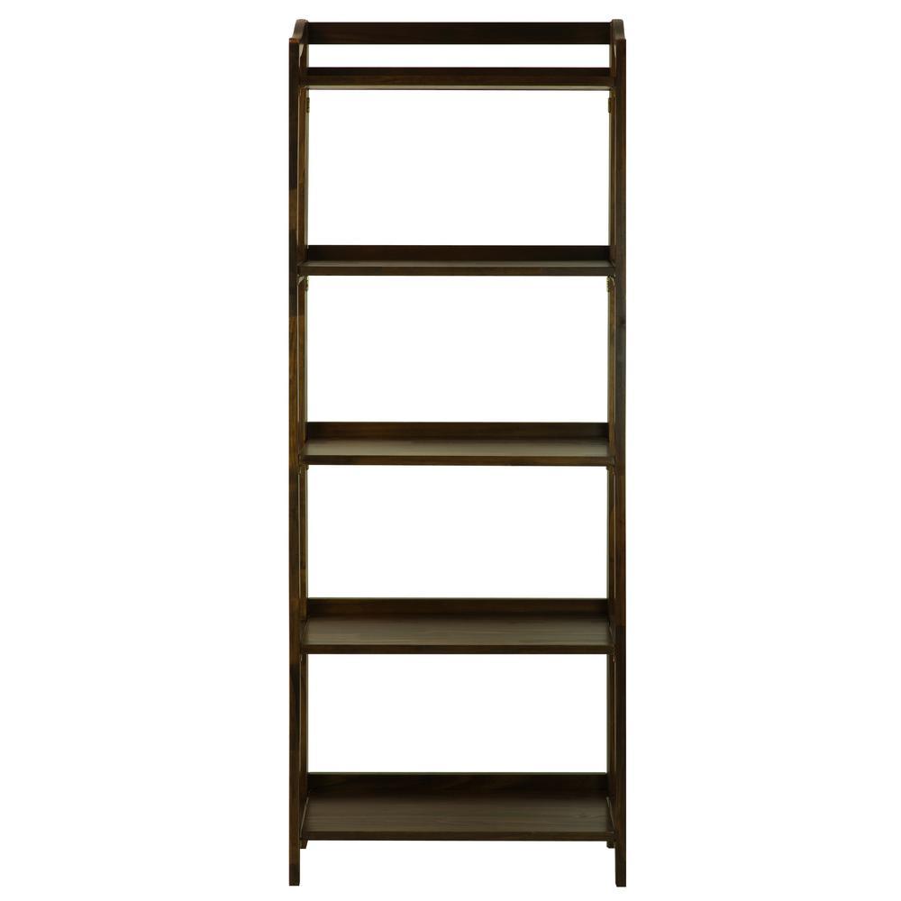Stratford Warm Brown 5-Shelf Folding Bookcase