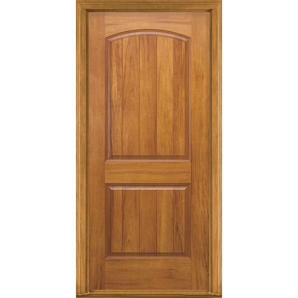 Masonite 36 in. x 80 in. AvantGuard Sierra 2-Panel Left Hand Outswing Finished Smooth Fiberglass Prehung Front Door No Brickmold