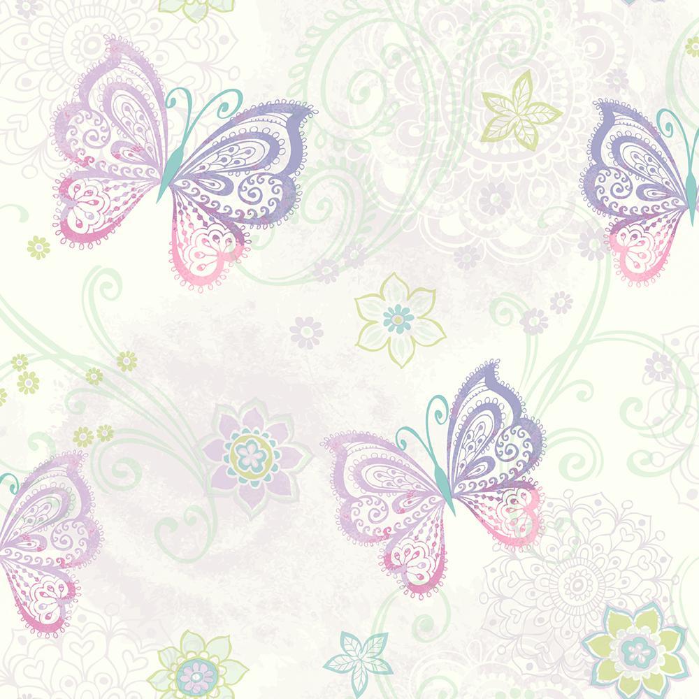 Fantasia Purple Boho Butterflies Scroll Wallpaper Sample