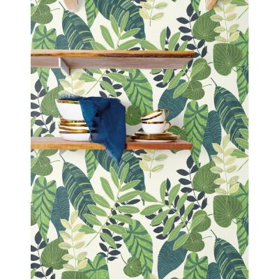 Tropicana Leaves Viridian and Dill Botanical Wallpaper