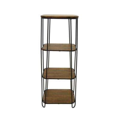 Brown Metal/Wood 3-Tier Rack