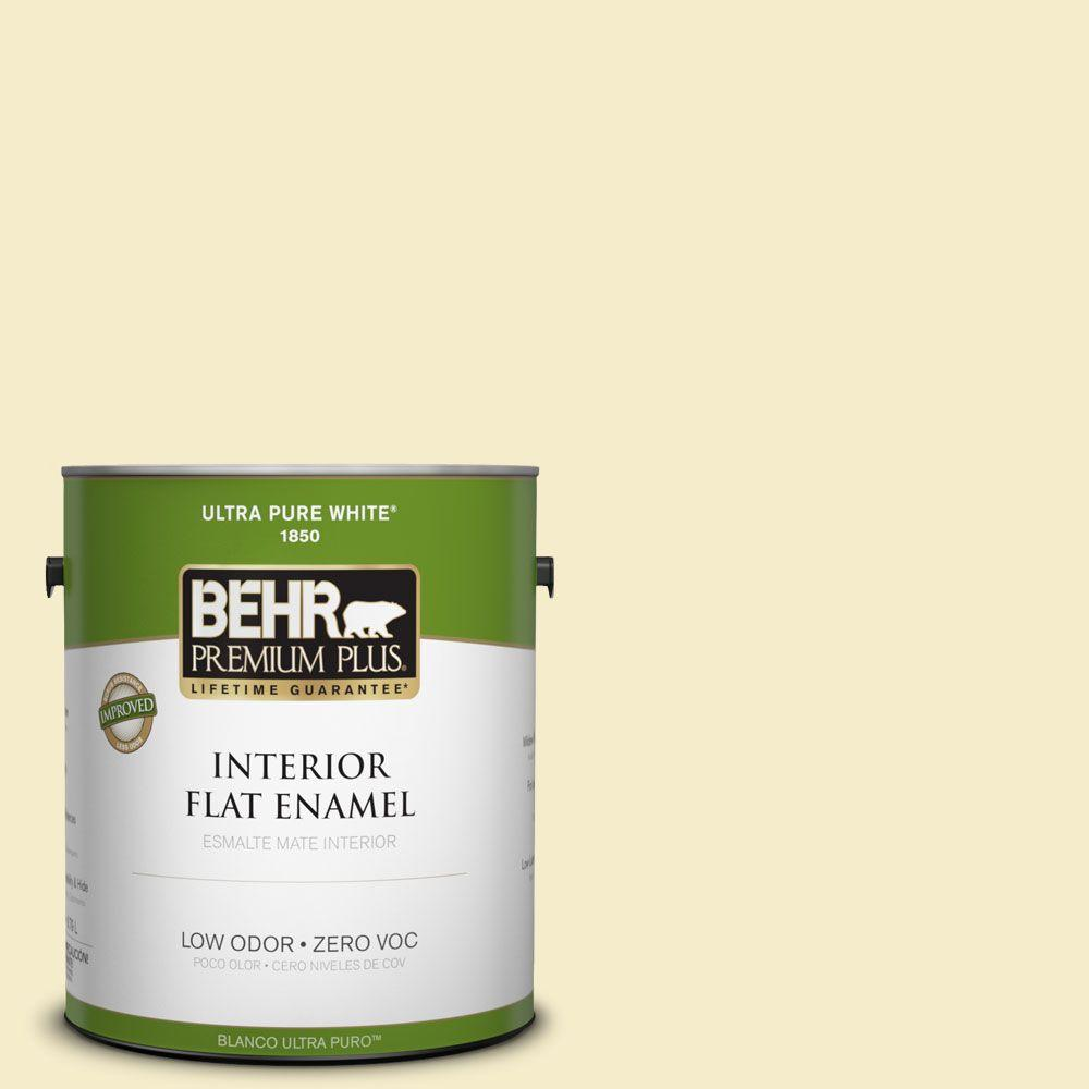 BEHR Premium Plus 1-gal. #390E-2 Starbright Zero VOC Flat Enamel Interior Paint-DISCONTINUED