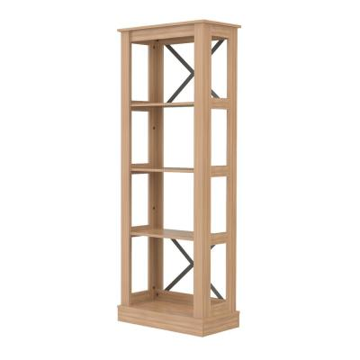 69.6 in. Brown Amaretto Laminates Wood 4-shelf Etagere Bookcase with Open Back