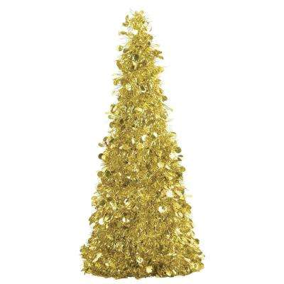 18 in. Gold Tinsel Tree Centerpiece (2-Pack)