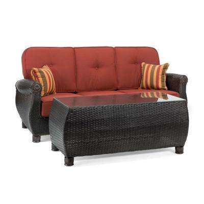 Breckenridge 2-Piece Wicker Outdoor Sofa and Coffee Table Set with Sunbrella Meredian Brick Cushion