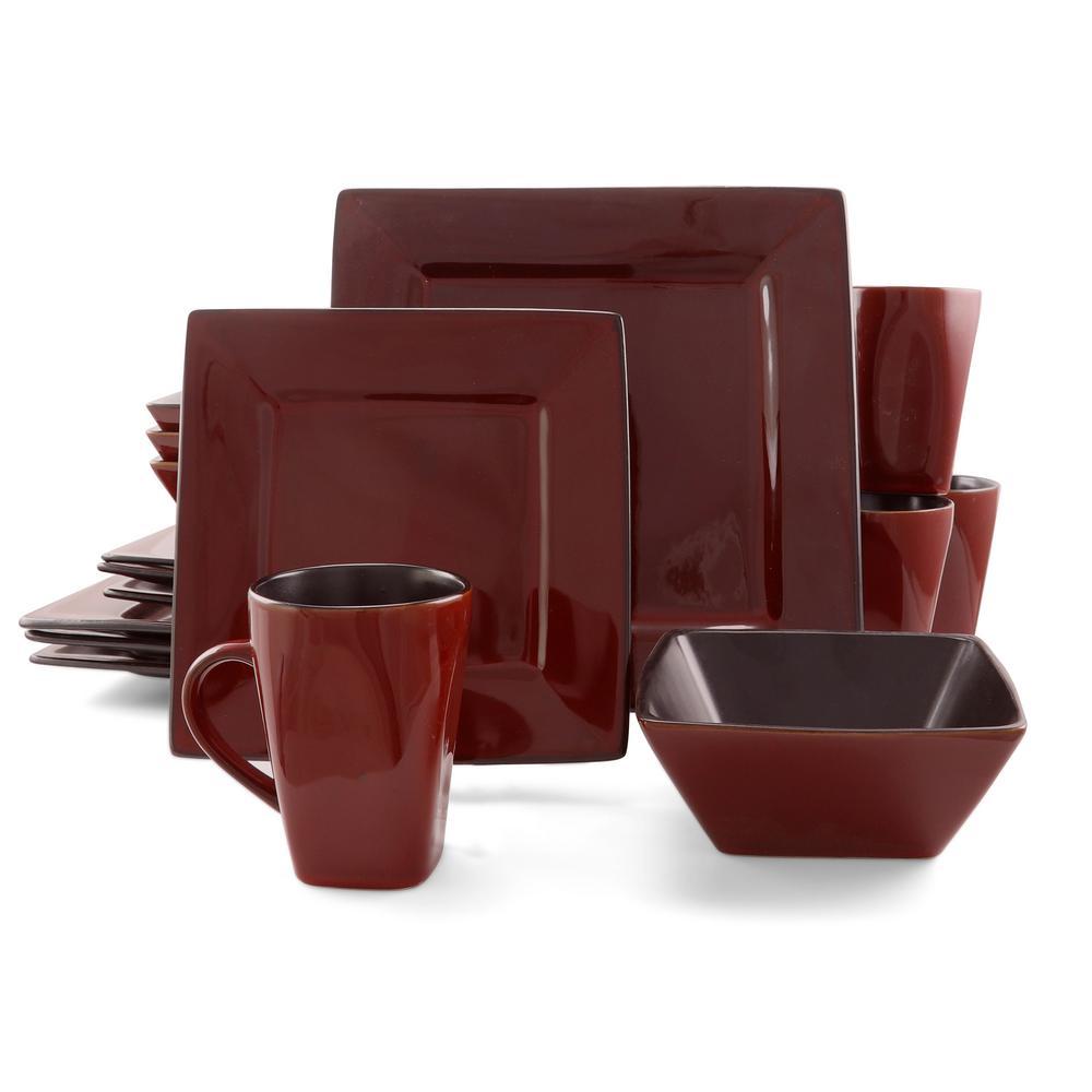 Kiesling 16-Piece Red Hard Square Dinnerware Set