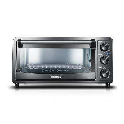 6-Slice Black Stainless Steel Toaster Oven