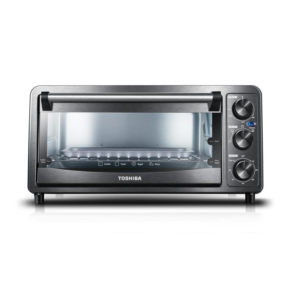 6-Slice Black Stainless Steel Toaster Oven