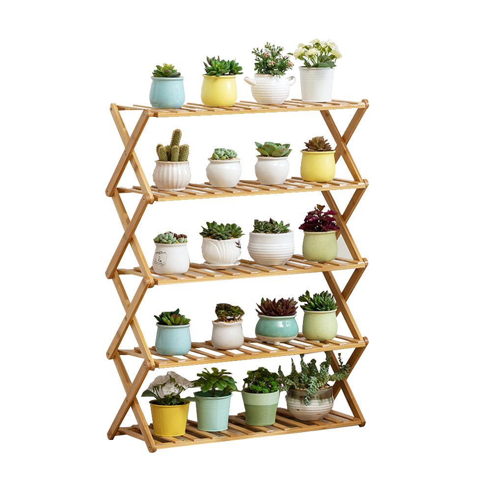 39.4 in. D 5-Tier Bamboo Shelf Flower Pot Plant Stand Wooden Rack Garden Indoor Outdoor