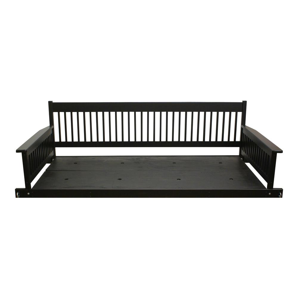 Plantation 2-Person Daybed Wooden Black Porch Patio Swing-856PSBBF ...