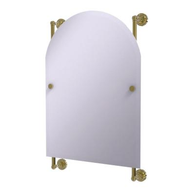 Dottingham Collection Arched Top Frameless Rail Mounted Mirror in Unlacquered Brass