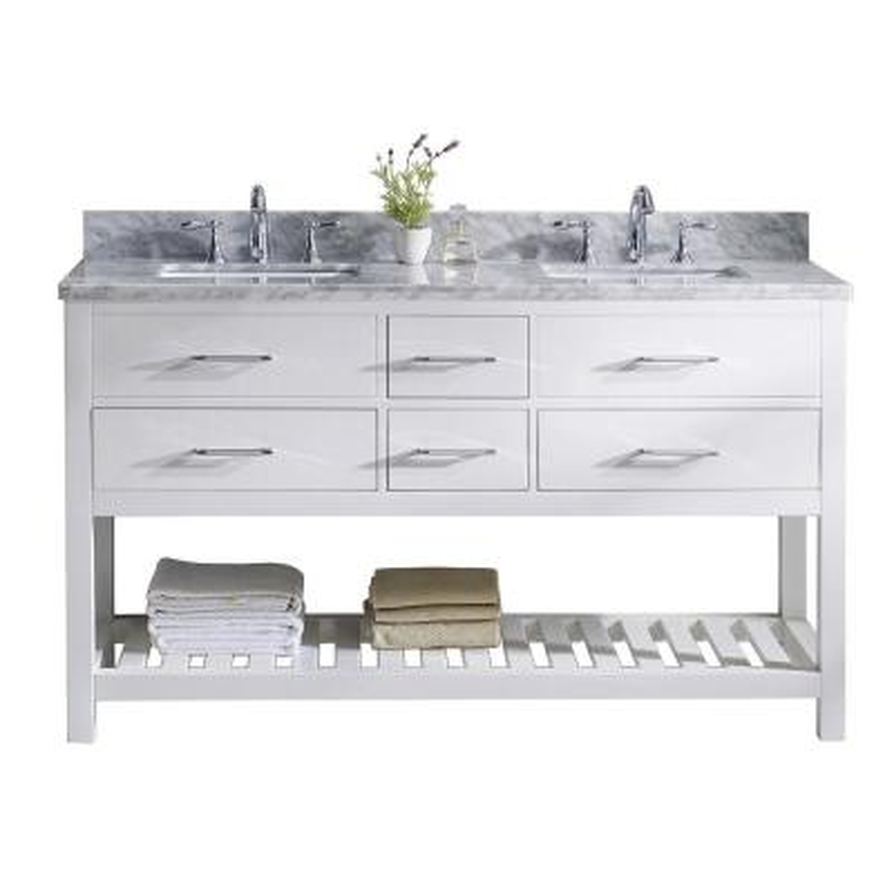 Virtu USA Caroline Estate 60 in. W Bath Vanity in White with Marble Vanity Top in White with White Basin