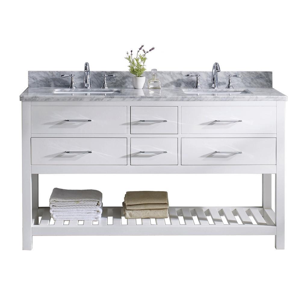 Caroline Estate 60 in. W Bath Vanity in White with Marble Vanity Top in White with White Basin