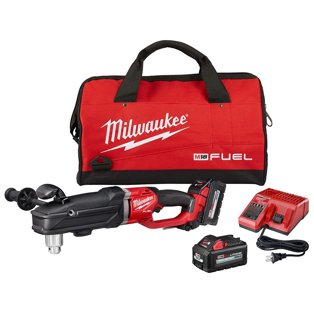 Milwaukee M18 FUEL 18-Volt Lithium-Ion Brushless Cordless GEN 2 SUPER HAWG 1/2 in. Right Angle Drill Kit