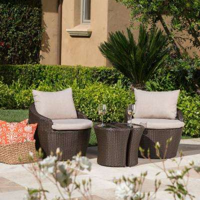 Costa Rica Brown 3-Piece Wicker Patio Conversation Set with Beige Cushions