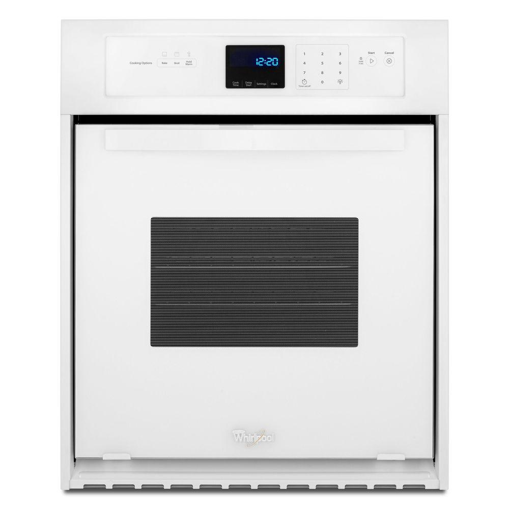 whirlpool 24 in single electric wall oven in white wos11em4ew the home depot. Black Bedroom Furniture Sets. Home Design Ideas