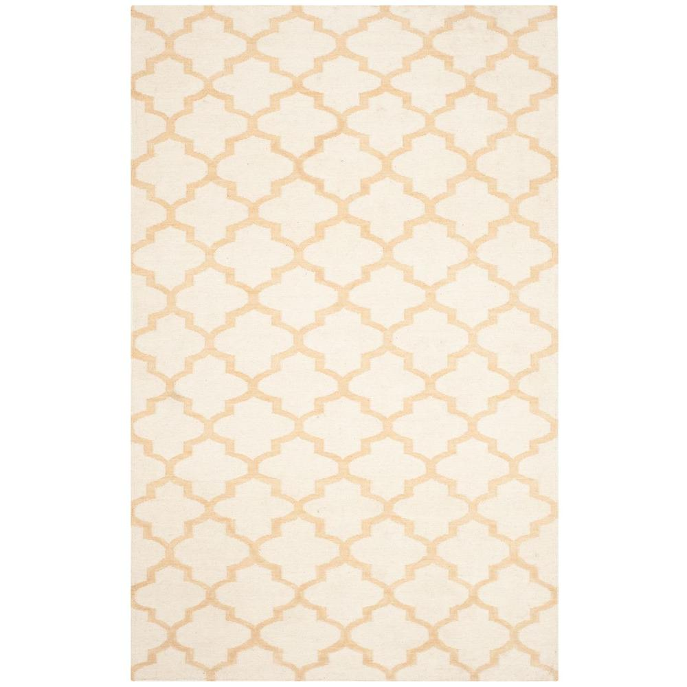 Dhurries Ivory/Gold 8 ft. x 10 ft. Area Rug