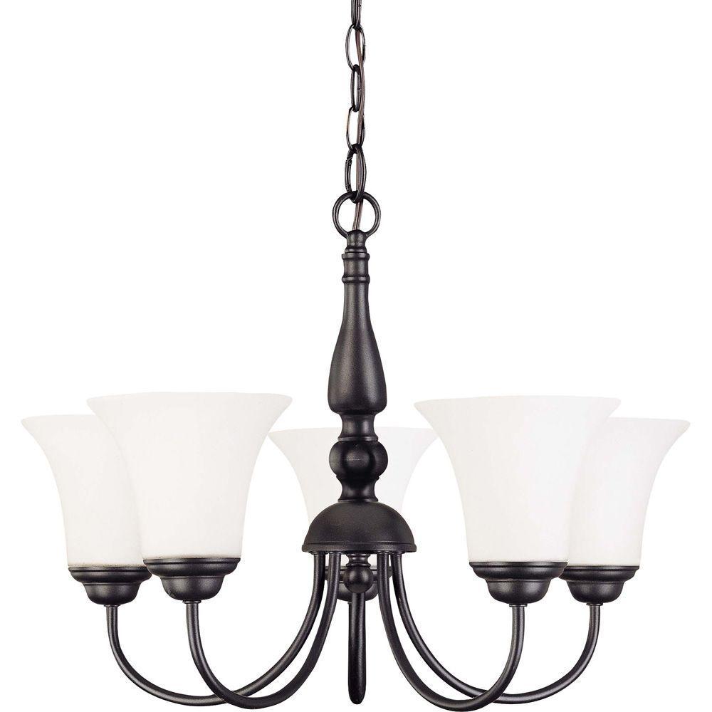Current Obsession Lantern Chandeliers: Glomar 5-Light Dark Chocolate Bronze Chandelier With Satin