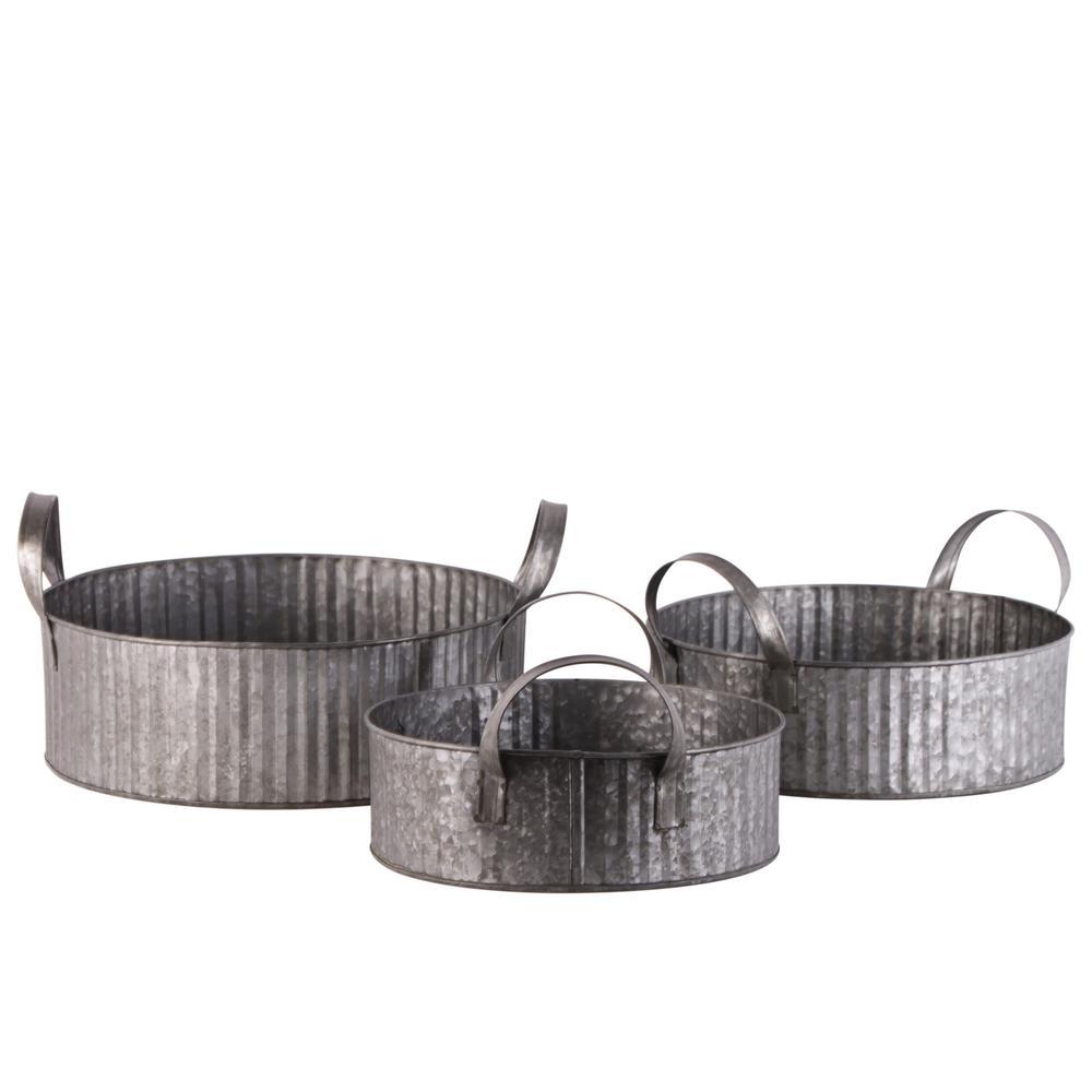 Round Metal Galvanized Gray Decorative Basket (Set of 3)
