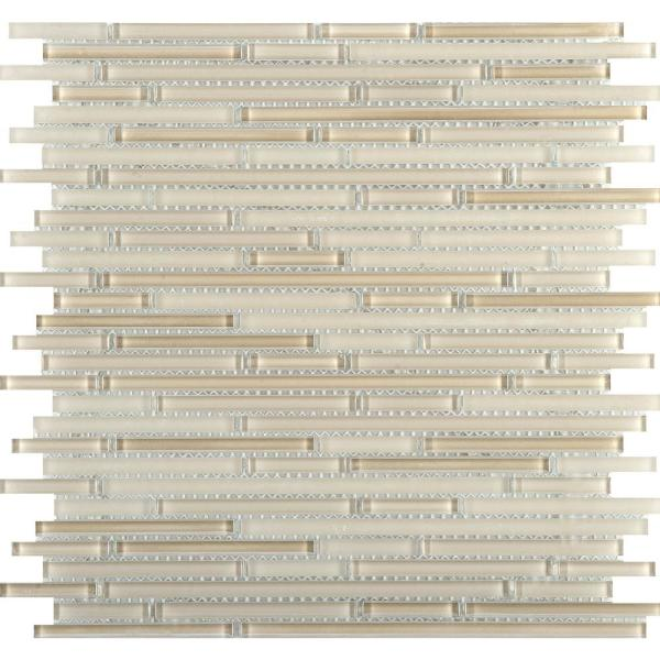 Infinity Natural Glossy 11.73 in. x 11.73 in. x 4mm Glass Mesh-Mounted Mosaic Tile (0.96 sq. ft.)