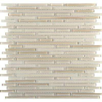 Infinity Natural Glossy 11.73 in. x 11.73 in. x 4mm Glass Mesh-Mounted Mosaic Tile