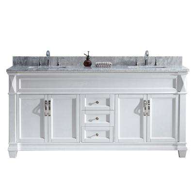 Victoria 72 in. W Bath Vanity in White with Marble Vanity Top in White with Square Basin