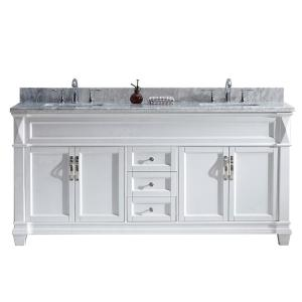 Virtu USA Victoria 72 inch W x 22 inch D Double Vanity in White with Marble Vanity Top in White with White Basin by Virtu USA