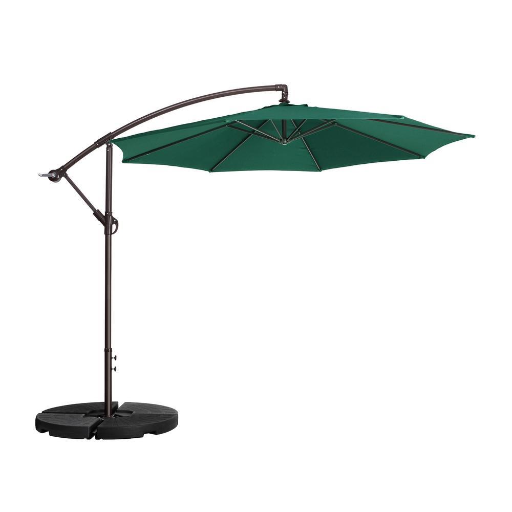 Villacera 10 ft. Aluminum Cantilever Tilt Patio Umbrella in Green