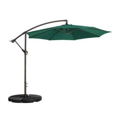 10 ft. Aluminum Cantilever Tilt Patio Umbrella in Green