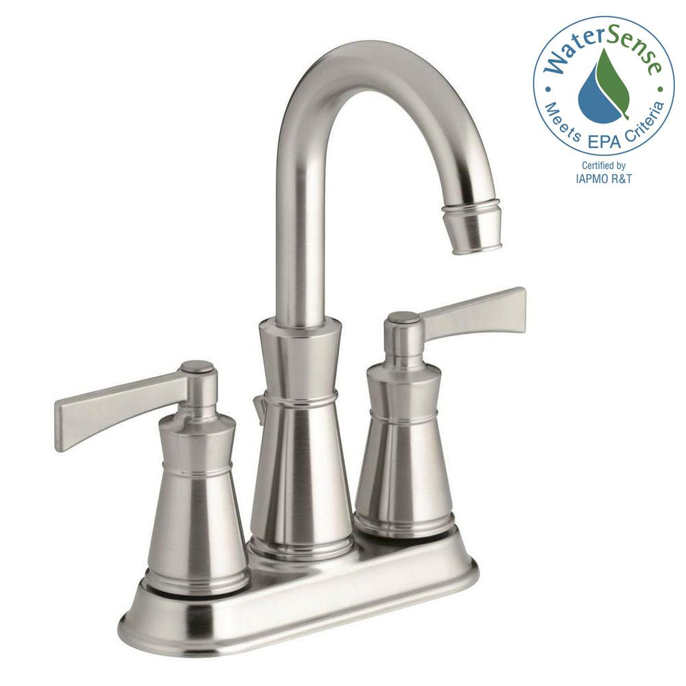 Archer 4 in. Centerset 2-Handle High-Arc Water-Saving Bathroom Faucet in Vibrant
