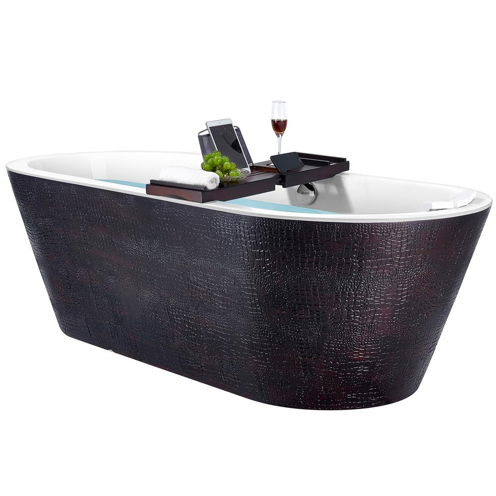 AKDY Freestanding 71 in. Acrylic Flatbottom Bathtub Modern Stand Alone Tub Luxurious SPA Tub in Black and Brown was $1699.0 now $999.99 (41.0% off)