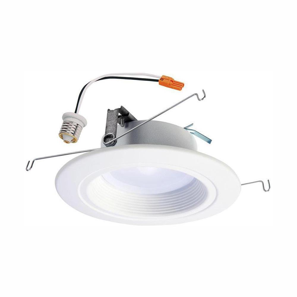 Halo Halo RL 5 in. and 6 in. White Integrated LED Recessed Ceiling Light Trim at Selectable CCT, Extra Brightness (1221 Lumens)