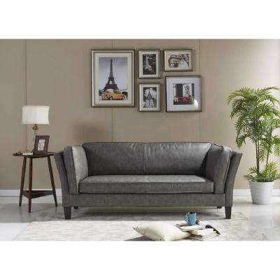 Olso Gray Leather Sofa