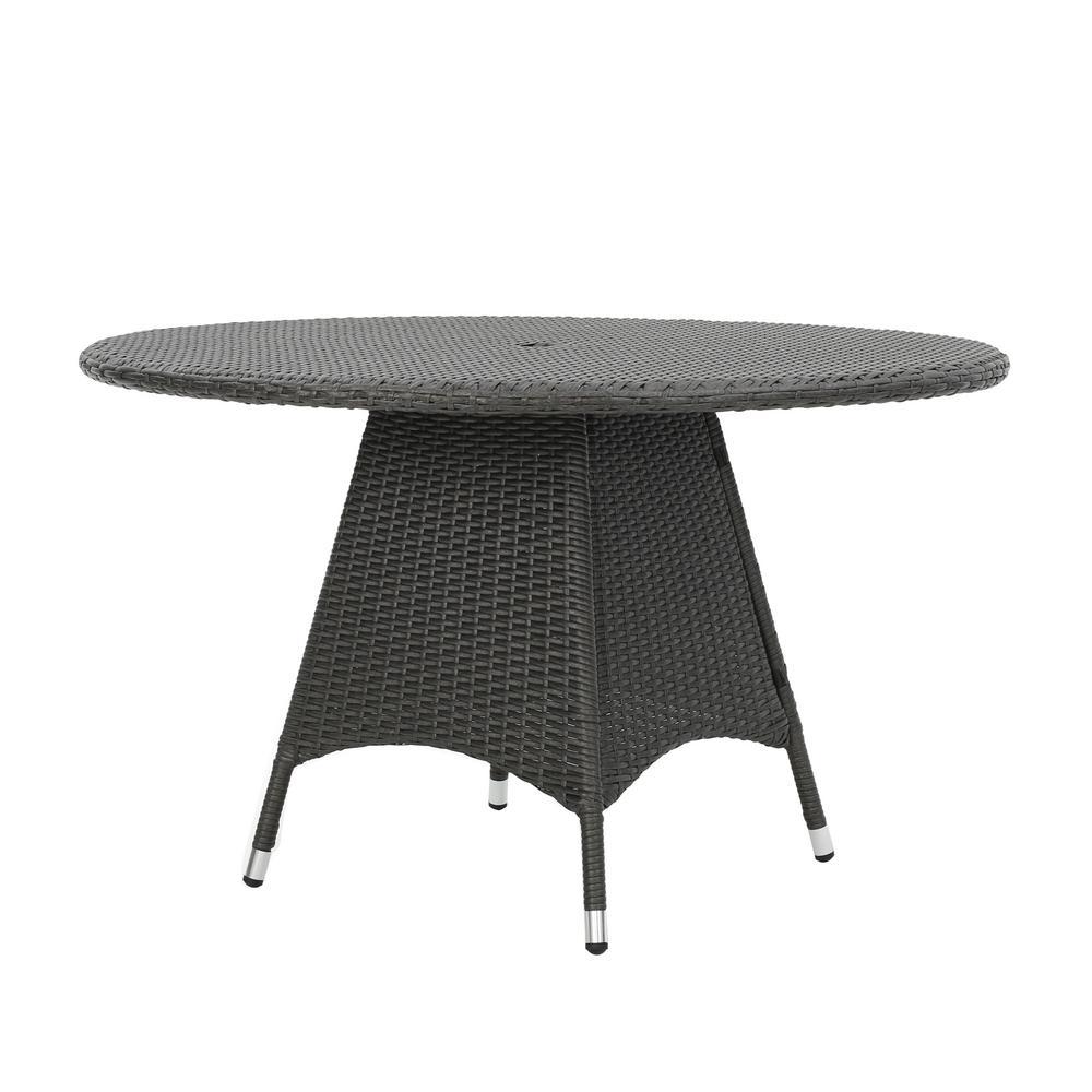 Octavia Grey Round Wicker Outdoor Dining Table