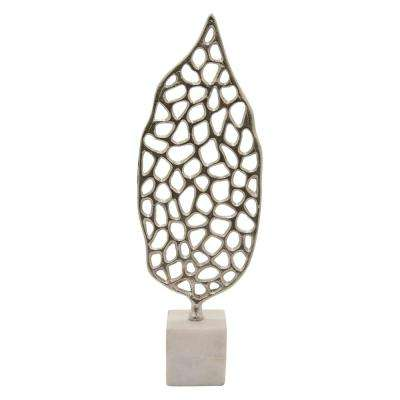 24.5 in. Metal Sculpture Marble Base in Silver